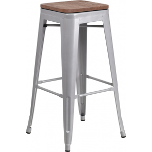 "Wholesale 30"" High Backless Silver Metal Barstool with Square Wood Seat"