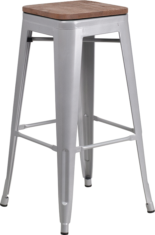 """Wholesale 30"""" High Backless Silver Metal Barstool with Square Wood Seat"""