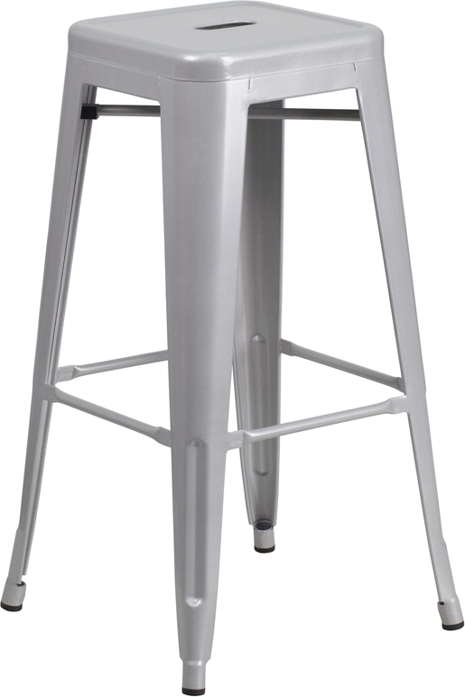 Wholesale 30'' High Backless Silver Metal Indoor-Outdoor Barstool with Square Seat