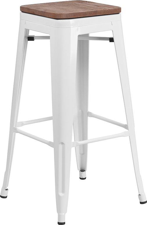 "Wholesale 30"" High Backless White Metal Barstool with Square Wood Seat"