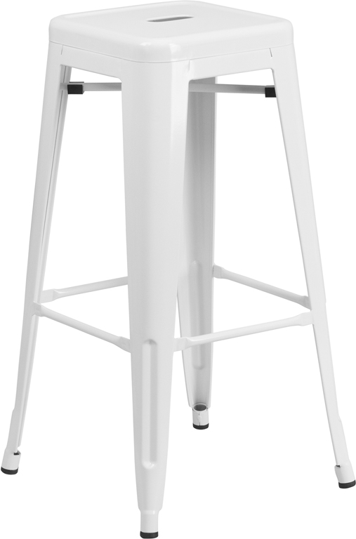 Wholesale 30'' High Backless White Metal Indoor-Outdoor Barstool with Square Seat