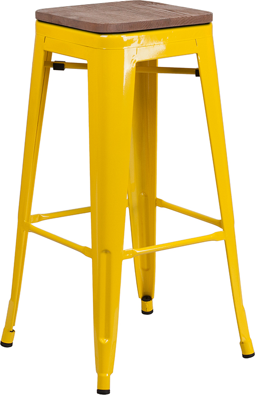 "Wholesale 30"" High Backless Yellow Metal Barstool with Square Wood Seat"