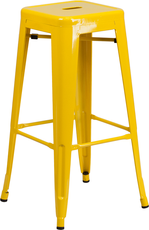 Wholesale 30'' High Backless Yellow Metal Indoor-Outdoor Barstool with Square Seat