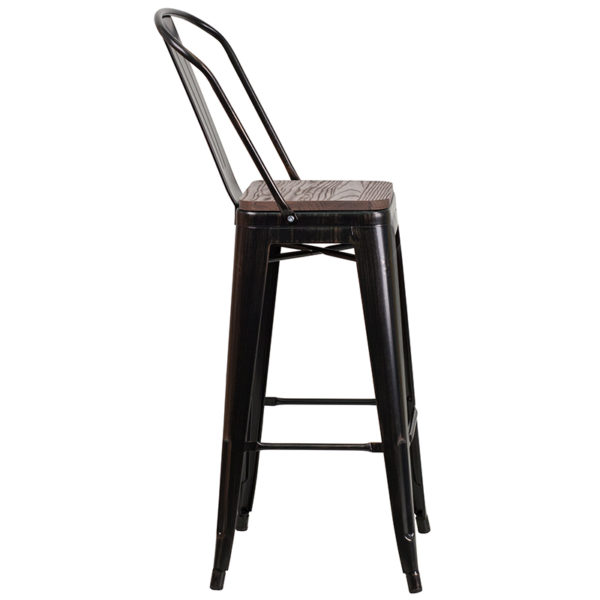 "Lowest Price 30"" High Black-Antique Gold Metal Barstool with Back and Wood Seat"