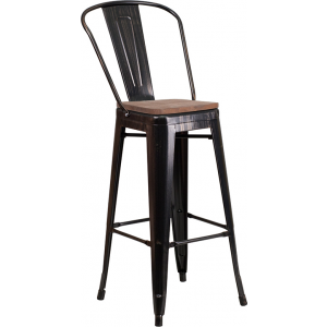 """Wholesale 30"""" High Black-Antique Gold Metal Barstool with Back and Wood Seat"""