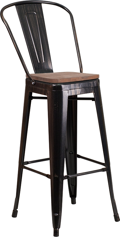 "Wholesale 30"" High Black-Antique Gold Metal Barstool with Back and Wood Seat"