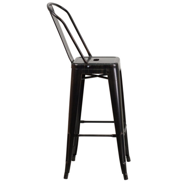 Lowest Price 30'' High Black-Antique Gold Metal Indoor-Outdoor Barstool with Back
