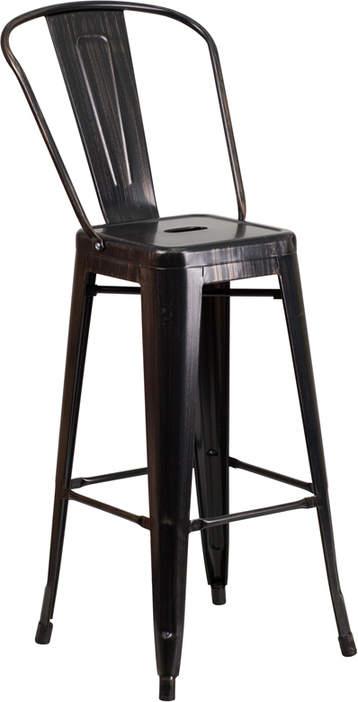 Wholesale 30'' High Black-Antique Gold Metal Indoor-Outdoor Barstool with Back