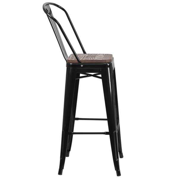 """Lowest Price 30"""" High Black Metal Barstool with Back and Wood Seat"""