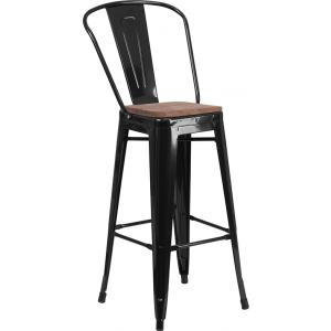 "Wholesale 30"" High Black Metal Barstool with Back and Wood Seat"