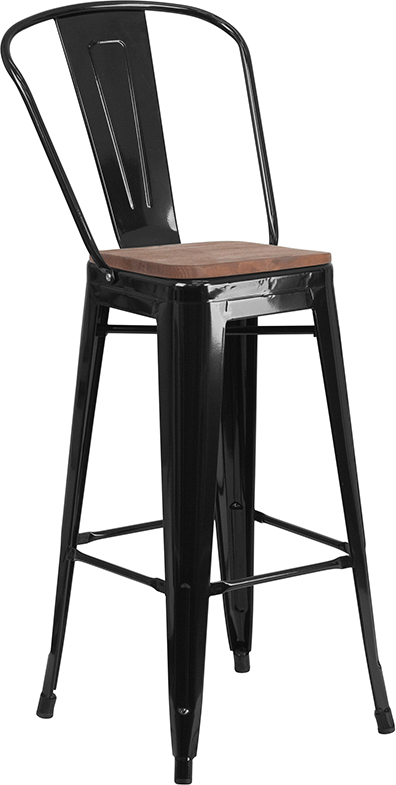 """Wholesale 30"""" High Black Metal Barstool with Back and Wood Seat"""