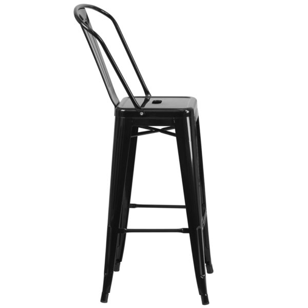 Lowest Price 30'' High Black Metal Indoor-Outdoor Barstool with Back