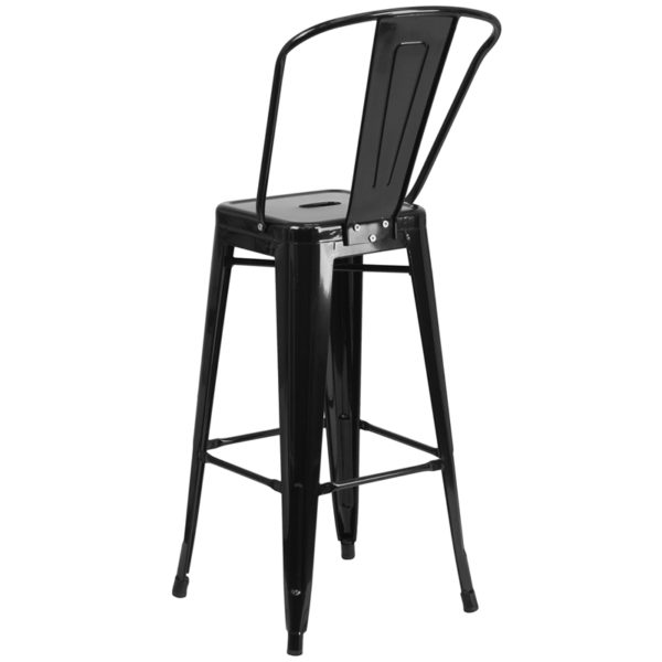 "Bistro Style Bar Stool 30"" Black Metal Outdoor Stool"