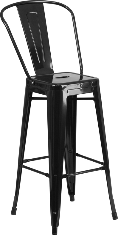 Wholesale 30'' High Black Metal Indoor-Outdoor Barstool with Back