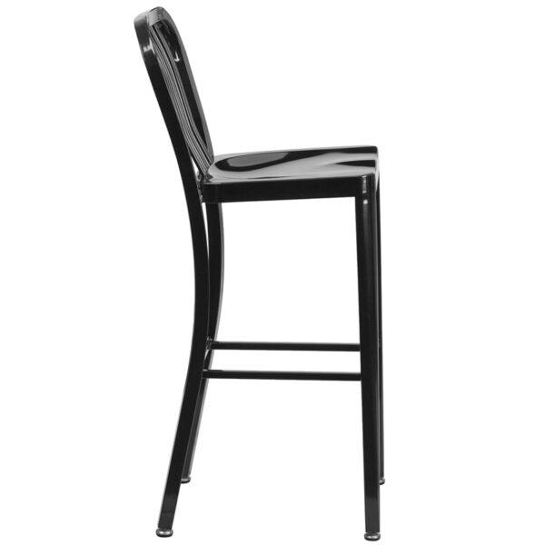 Lowest Price 30'' High Black Metal Indoor-Outdoor Barstool with Vertical Slat Back