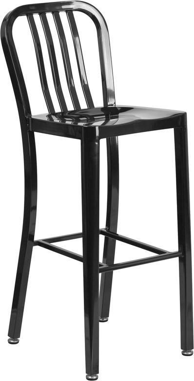 Wholesale 30'' High Black Metal Indoor-Outdoor Barstool with Vertical Slat Back