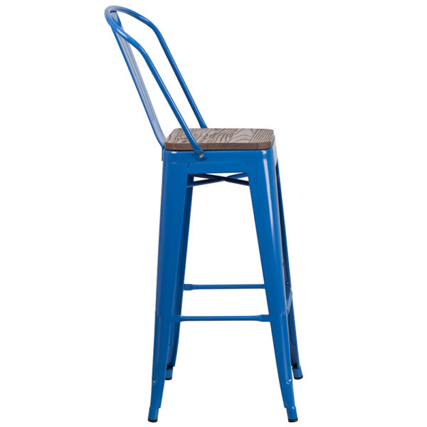 "Lowest Price 30"" High Blue Metal Barstool with Back and Wood Seat"