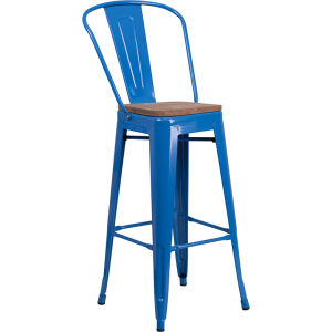 "Wholesale 30"" High Blue Metal Barstool with Back and Wood Seat"
