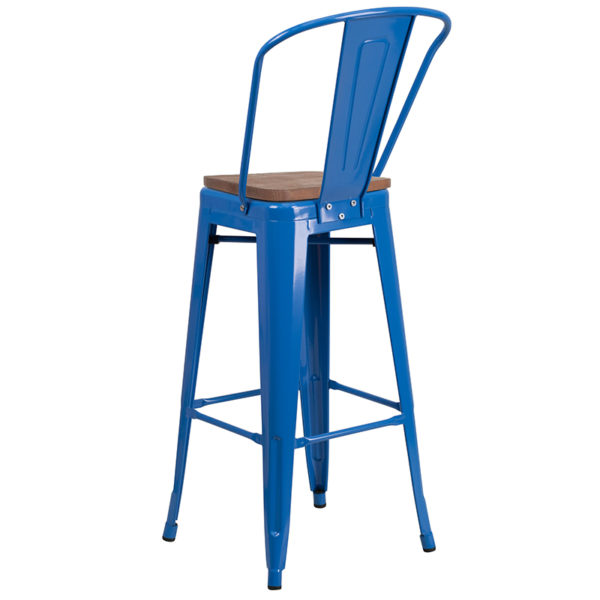 "Bistro Style Bar Stool 30"" Blue Metal Barstool"