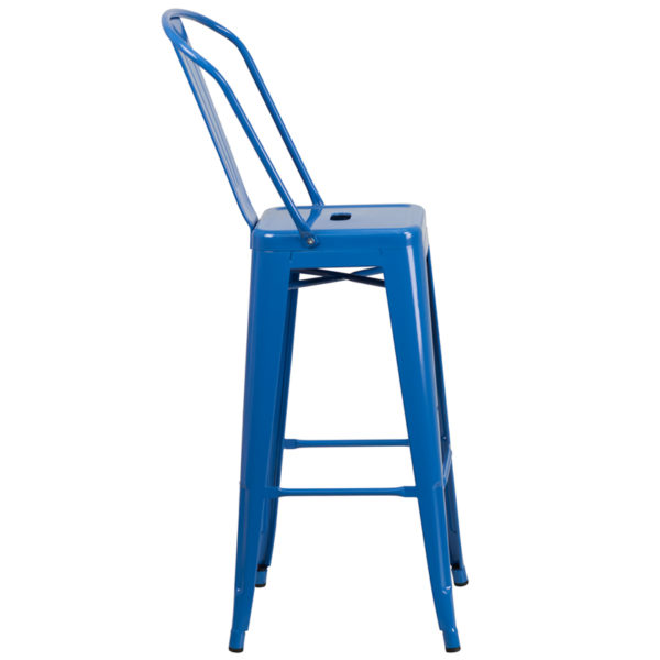 Lowest Price 30'' High Blue Metal Indoor-Outdoor Barstool with Back