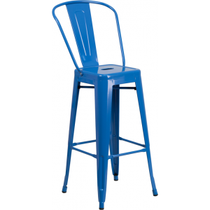 Wholesale 30'' High Blue Metal Indoor-Outdoor Barstool with Back