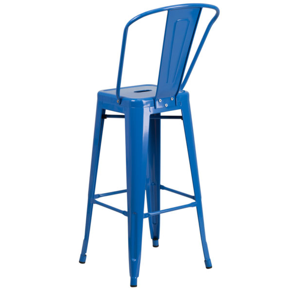 "Bistro Style Bar Stool 30"" Blue Metal Outdoor Stool"