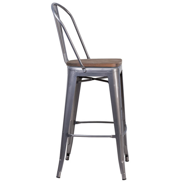 """Lowest Price 30"""" High Clear Coated Barstool with Back and Wood Seat"""