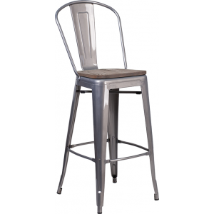 "Wholesale 30"" High Clear Coated Barstool with Back and Wood Seat"