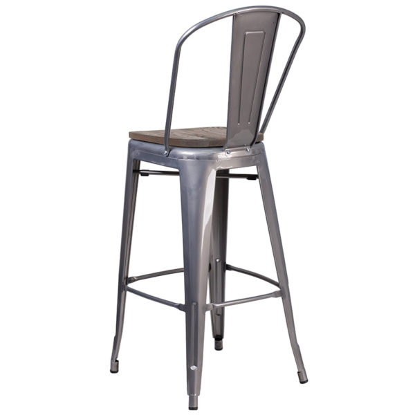 """Bistro Style Bar Stool 30"""" Clear Metal Barstool"""
