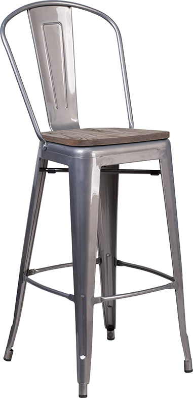 """Wholesale 30"""" High Clear Coated Barstool with Back and Wood Seat"""