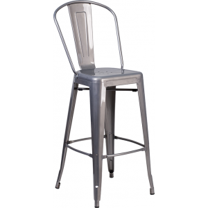 Wholesale 30'' High Clear Coated Indoor Barstool with Back