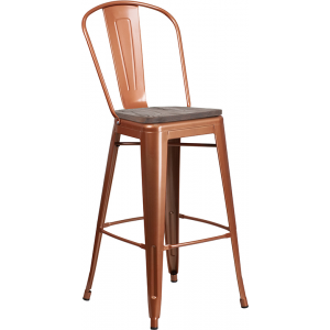 "Wholesale 30"" High Copper Metal Barstool with Back and Wood Seat"