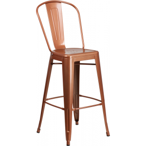 Wholesale 30'' High Copper Metal Indoor-Outdoor Barstool with Back