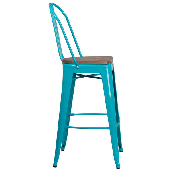"Lowest Price 30"" High Crystal Teal-Blue Metal Barstool with Back and Wood Seat"