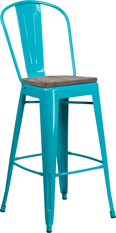 "Wholesale 30"" High Crystal Teal-Blue Metal Barstool with Back and Wood Seat"