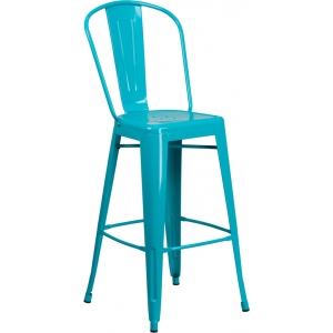 Wholesale 30'' High Crystal Teal-Blue Metal Indoor-Outdoor Barstool with Back