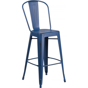 Wholesale 30'' High Distressed Antique Blue Metal Indoor-Outdoor Barstool with Back