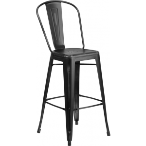 Wholesale 30'' High Distressed Black Metal Indoor-Outdoor Barstool with Back