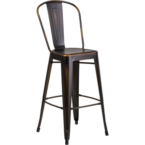Wholesale 30'' High Distressed Copper Metal Indoor-Outdoor Barstool with Back