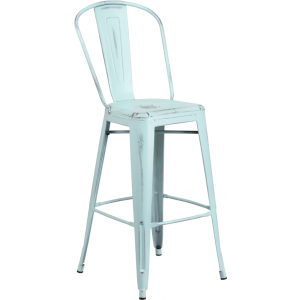 Wholesale 30'' High Distressed Green-Blue Metal Indoor-Outdoor Barstool with Back