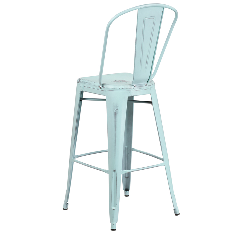 Bistro Style Bar Stool Distressed Gn-Blue Metal Stool