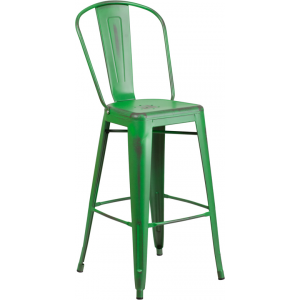 Wholesale 30'' High Distressed Green Metal Indoor-Outdoor Barstool with Back
