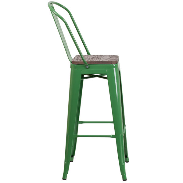 "Lowest Price 30"" High Green Metal Barstool with Back and Wood Seat"