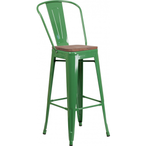 """Wholesale 30"""" High Green Metal Barstool with Back and Wood Seat"""