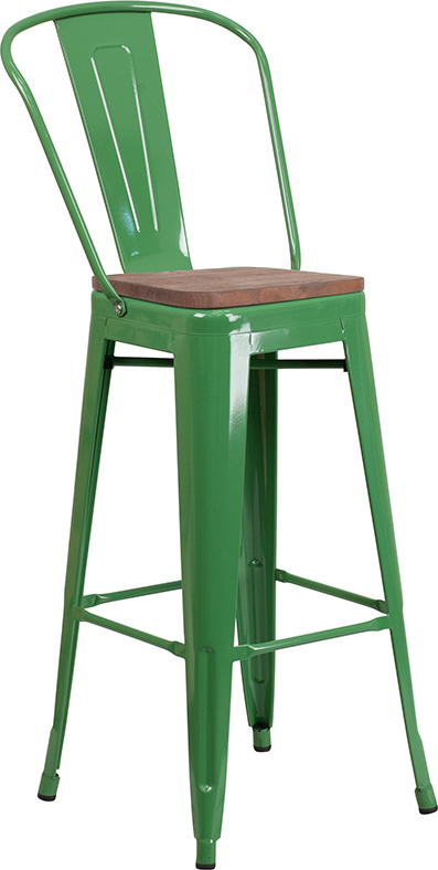 "Wholesale 30"" High Green Metal Barstool with Back and Wood Seat"