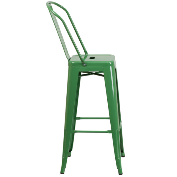 Lowest Price 30'' High Green Metal Indoor-Outdoor Barstool with Back
