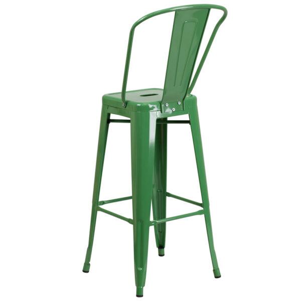 "Bistro Style Bar Stool 30"" Green Metal Outdoor Stool"