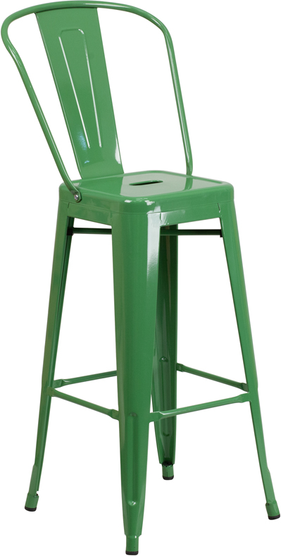 Wholesale 30'' High Green Metal Indoor-Outdoor Barstool with Back