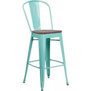 """Wholesale 30"""" High Mint Green Metal Barstool with Back and Wood Seat"""