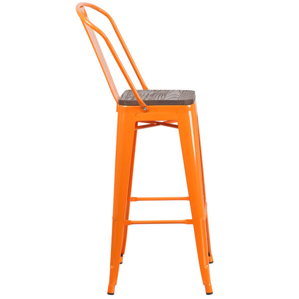 """Lowest Price 30"""" High Orange Metal Barstool with Back and Wood Seat"""